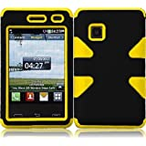 For LG 840G LG840G Dynamic Hybrid Tuff Hard Case Snap On Phone Silicone Cover Black/Yellow Accessory