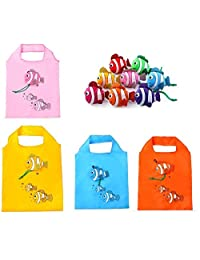 Set Of 5 Fish Folding Bags (Multi Color) For Travel Shopping Picnics Beach Hiking Trips Portable Easy To Carry
