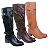 LADIES WOMENS ELASTICATED FAUX LEATHER RIDING KNEE WIDE CALF HIGH SHOE BOOT SIZE