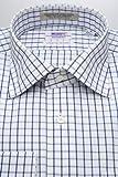 (スキャッティ) WEARFT 80番手 双糸 白地 ブルー グラフチェック レギュラー (細身) ドレスシャツ rg3599