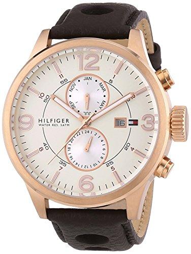 Tommy Hilfiger  - Reloj de cuarzo unisex, correa de cuero color marrón