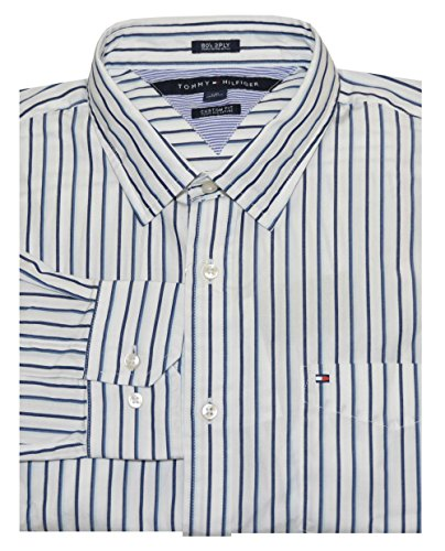 Tommy Hilfiger Men Custom Fit 80's 2PLY Striped Logo Shirt
