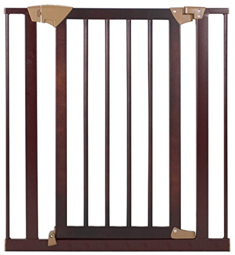 Baby Trend Tall Pressure Fit Wood and Metal Gate, Espresso - 1