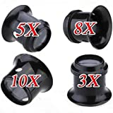 4 PCS Watch Eyes Loupe 3X 5X 8X 10X Jeweller Optical Glass Magnifier Magnifying