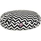 Black Chevron Small Round Indoor Outdoor Pet Dog Bed With Removable Washable Cover By Majestic Pet Products
