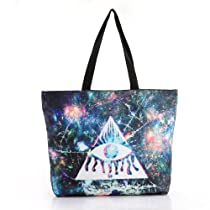 Solilor Galaxy Crack Triangle Eye Print Canvas Bags
