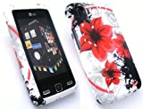 EMARTBUY LG KP500 COOKIE LCD SCREEN PROTECTOR AND GEL SILICON CASE/COVER/SKIN ORIENTAL FLOWERS
