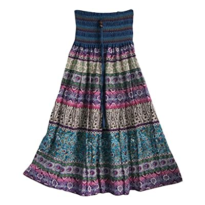 Aubig Women's Bohemian Maxi Silk Connect Color Striped Long Skirt Ballet Dress Blue