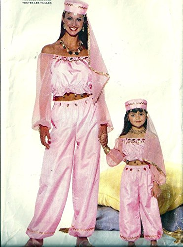 Butterick 6200 Misses and Girls Genie, Belly Dancer, Arabian Nights Costume Sewing Pattern Mises Size xS-S-M-L (Bust 31.5-40) Girls size xS-S-M-L (Breast 21- 27) image