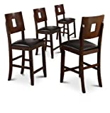 Espresso Cappuccino Bar Stools Dining Side Chairs Set of 4