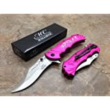 Master Collection Assisted Opening Rescue Tactical Pocket Folding Collection Knife Outdoor Survival Camping Hunting w/ Dragon Design - Pink