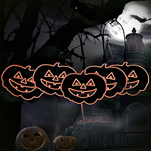 Lycheers Battery Halloween Pumpkin Trick or Treat Paper Light Party Decoration Set