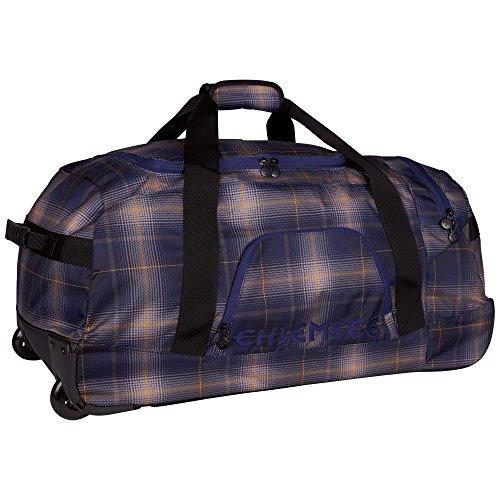 Chiemsee Reisetasche Reisetasche Rolling Duffle, Sehr Schöne Leichte Trendige Freizeittasche mit Trolleyfunktion, Plaid Peacoat, 70 x 32 x 41 cm, 5070003