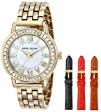 Anne Klein Womens Gold-Tone Swarovski-Accented Watch with Three Additional Straps