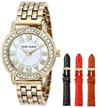 Anne Klein Women's Gold-Tone Swarovski-Accented Watch with Three Additional Straps