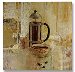 Neron Art - Hand painted Still Life Oil Painting on Rolled Canvas for Living Room Wall Decor - Coffee Break 48X48 inch