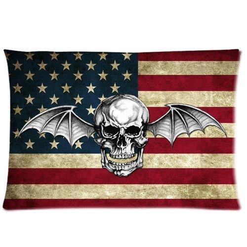 Casa cuscino art Avenged Sevenfold Band Logo con teschio e bandiera americana custom Throw Federa Cuscino Rettangolare Cover 50,8x 76,2cm Standard (due lati)
