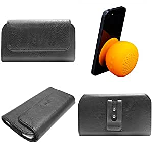 DMG Durable Cell Phone Pouch Carrying Case with Belt Clip Holster for Asus Zenfone 4 (Black) + Waterproof Bluetooth Suction Stand Speaker