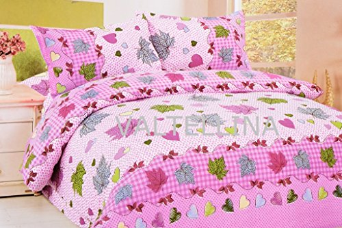 Valtellina Valtellina Amazing Leaves With Heart Print Double Bed Sheet