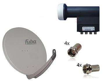 satellite pour 4 participants FUBA DAA 850, Gris clair, Inverto Quadrilatère LNB