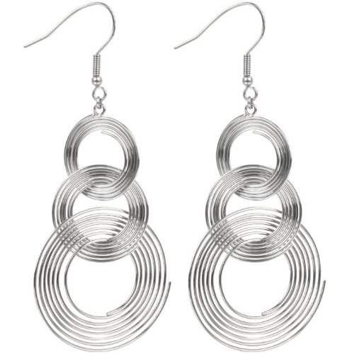 Inox Jewelry 316L Stainless Steel Circle Drop Earrings