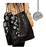 Micom Womens Skull Print Pu Hobo Tote Shoulder Bag Lash Package Handbag
