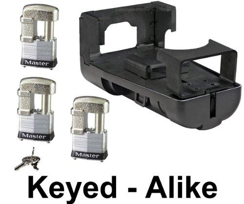 Master Lock - Gooseneck Coupler Trailer Lock w/ 3 Padlocks Keyed Alike - #4KA-2989-37 (Fifth Wheel Lock Master compare prices)