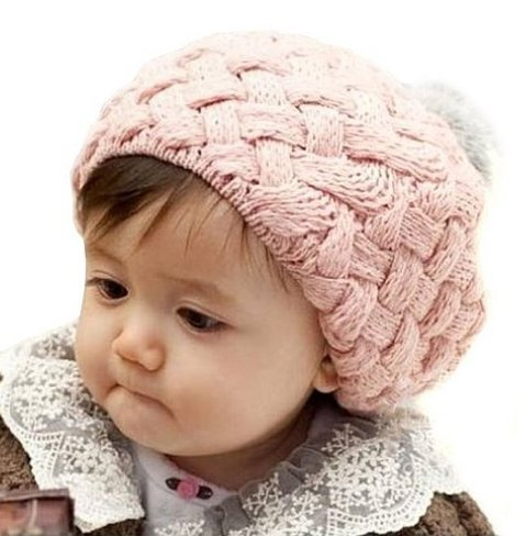 Wawo Winter Warm Cute Baby Kids Girls Toddler Knit Beanie Crochet Rib Pom Pom Hat Cap (Pink) front-1001267