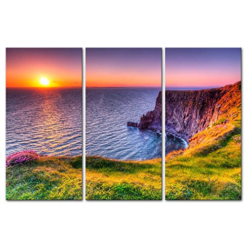 3-Pieces-Modern-Canvas-Painting-Wall-Art-The-Picture-For-Home-Decoration-Destination-Cliffs-Of-Moher-Beach-At-Sunset-Doolin-County-Clare-Ireland-Seascape-Sunrise-Print-On-Canvas-Giclee-Artwork-For-Wal