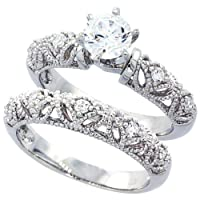 14K White Gold Rhodium Plated Sterling Silver Wedding & Engagement Ring Vintage Style 2Pc Engagement Ring Set For Women 8MM ( Size 6 to 9) from Double Accent