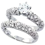 14K White Gold Rhodium Plated Sterling Silver Wedding & Engagement Ring Vintage Style 2Pc Engagement Ring Set For Women 8MM ( Size 6 to 9)