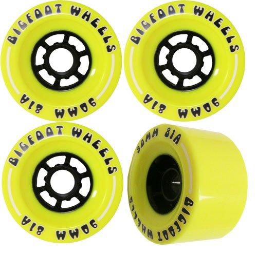 Bigfoot Longboard Wheels Stoneground Pathfinders 70mm 80 Yellow Abec 9 Bearings