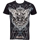 Chained Fleur de Lis Metallic Silver Embossed Short Sleeve Crew Neck Cotton Mens Fashion T-Shirt ( 2 Colors )