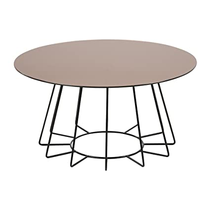 lounge-zone Couchtisch Wohnzimmertisch CASIANO Tischplatte Glas goldfarbig Gestell Metall schwarz lackiert rund Durchmesser 80cm 13499
