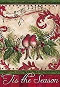 Musical Note Bird Tis the Season Garden Flag Holiday Double Sided 13