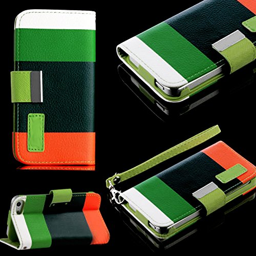 Mylife (Tm) Natural Green, White And Orange Stacks - Stripe Design - Textured Koskin Faux Leather (Card And Id Holder + Magnetic Detachable Closing) Slim Wallet For Iphone 5/5S (5G) 5Th Generation Smartphone By Apple (External Rugged Synthetic Leather Wit