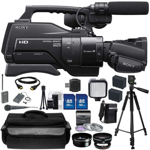 Sony Hxr-Mc2000U Shoulder Mount Avchd Camcorder + Audio-Technica Atr288W Vhf Twinmic System, .45X Wide Angle Lens, 2X Telephoto Lens, 3 Piece Multi-Coated Filter Kit, 2X 32Gb Sd Memory Cards, Led Video Light, Hdmi Cable, 2 Replacement Np-F970 Batteries, W
