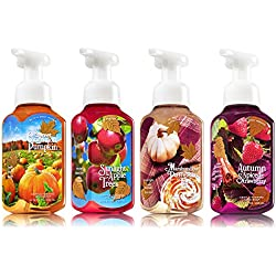 4pc SET - Bath & Body Works Gentle Foaming Hand Soap FALL Collection - Sweet Cinnamon Pumpkin, Sunlight & Apple Trees, Marshmallow Pumpkin Latte & Autumn Spiced Strawberry
