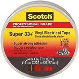 Scotch 6132-BA-10-10 Scotch Super 33+ Vinyl Electrical Tape, .75-Inch x 66-Foot x 0.007-Inch, 10-Pack