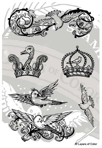 Layers Of Color LOC Royal Birds Clear Designer Art Stamp Set 6 pieces for Mixed Media, Scrapbooking, and Classical Artistic Design made in USA