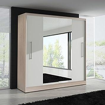 FAST&FREE DELIVERY SLIDING DOOR WARDROBE 6 ft 8 inch (204cm) 'MIRROR II - ASH'