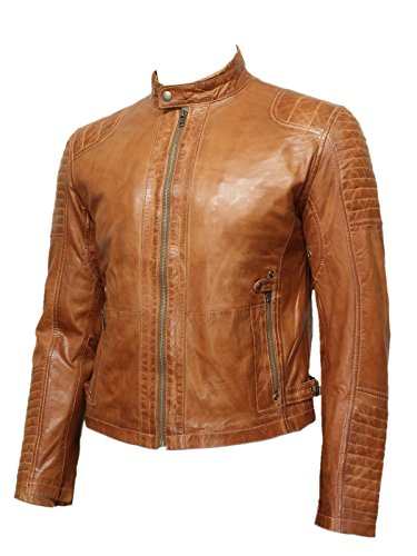 Brandslock-degli-uomini-motociclista-Bomber-vintage-look-elegante-Designer-pelle