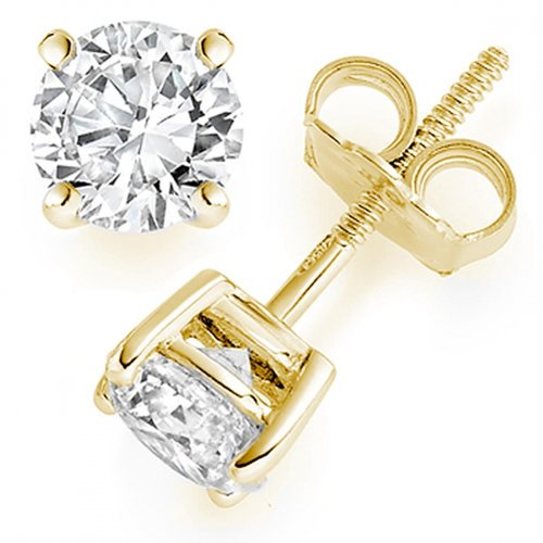 1/4 Carat Round Solitaire Diamond Earrings in 18K Yellow Gold in Screw Back & 4 Prong Mounting ( 0.25 Carat F-G Color VS1-VS2 Clarity )