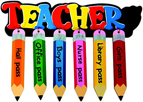 School Specialty Wooden Pencil-Shaped School Passes - Set of 6 - Colors May Vary