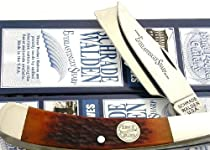 Schrade Walden USA Razor Traper Amber Bone Handle Knife