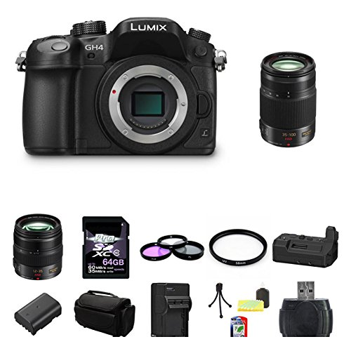 Panasonic Lumix Dmc-Gh4 4K Mirrorless Micro Four Thirds Digital Camera (Black) Panasonic Lumix G X Vario 12-35Mm F/2.8 Asph. Lens For Micro 4/3 (Black) Bundle 3