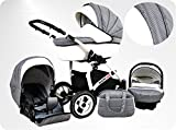 Lux4Kids BIANCinO Kinderwagen Komplettset 03 Eco Leather White & Vichy
