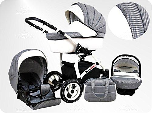 Lux4Kids BIANCinO Kinderwagen Komplettset (Autositz & Adapter, Regenschutz, Moskitonetz, Schwenkräder) 03 Eco Leather White & Vichy Karo Platin