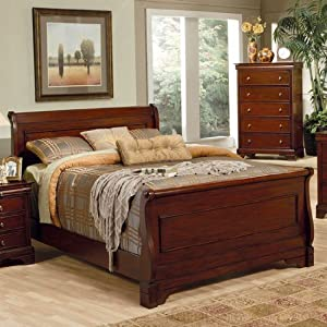 4pc Queen Size Sleigh Bedroom Set Louis Philippe Style In Mahogany Finish Bedroom