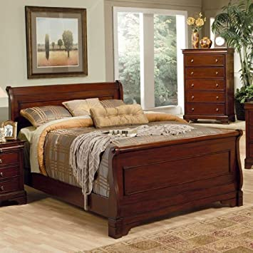 Great Coaster Queen Size Sleigh Bed Louis Philippe Style in Mahogany Finish